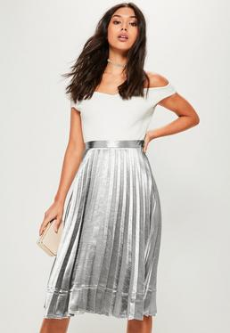 Silver Pleated Full Midi Skirt