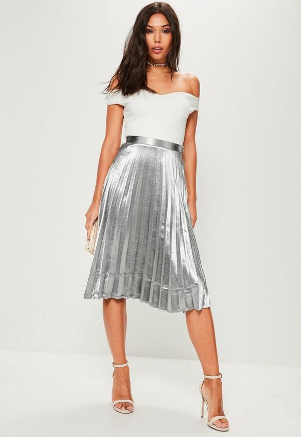 silver pleated midi skirt missguided