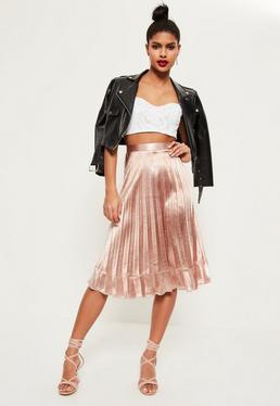 Pink Pleated Full Contrast Hem Midi Skirt