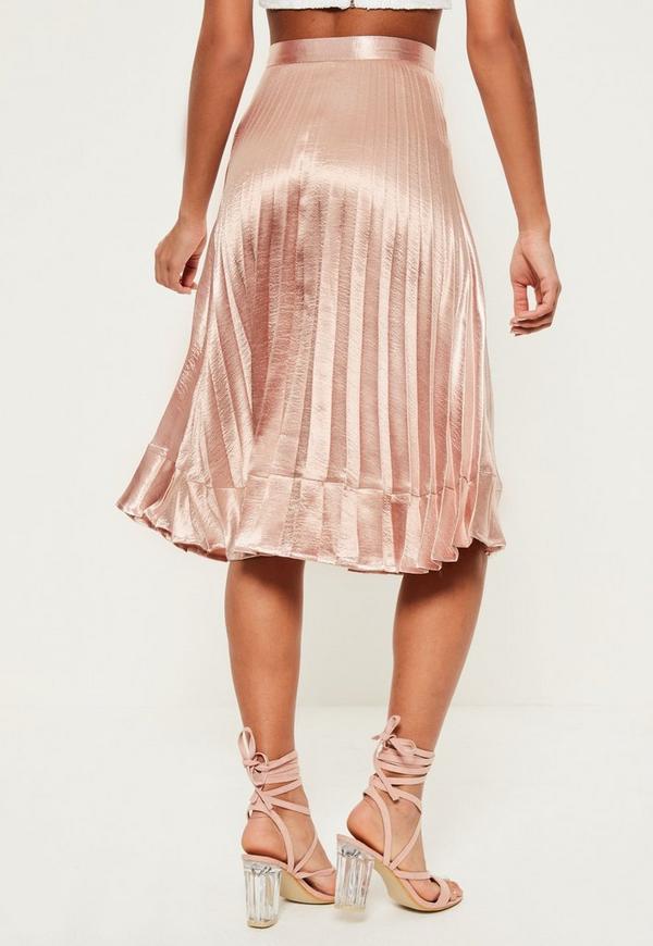 pink pleated contrast hem midi skirt missguided