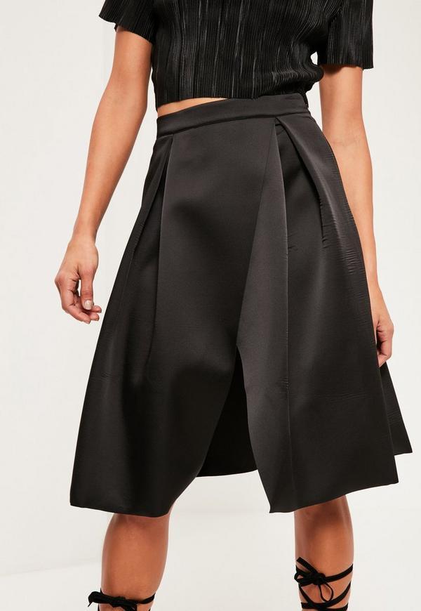 black pleated wrap heavyweight midi skirt missguided
