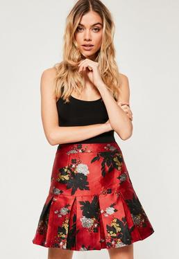 Red Jacquard Pleated Hem Mini Skirt