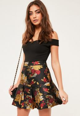 Black Jacquard Pleated Hem Mini Skirt