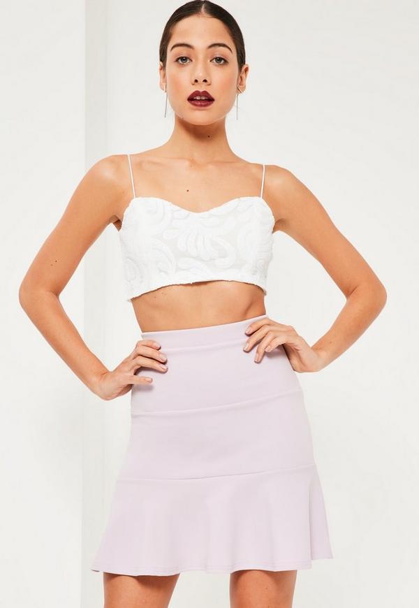 Purple Jersey Crepe Frill Hem Mini Skirt
