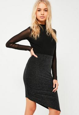 Black Glitter Sparkle Ruched Side Asymmetric Skirt