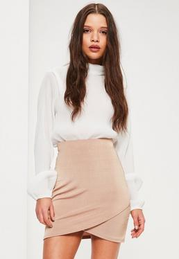 Nude Slinky Wrap Front Skirt