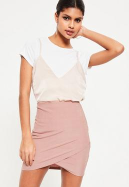 Pink Metallic Rib Wrap Front Mini Skirt