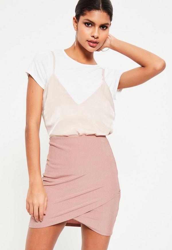 Pink Metallic Rib Wrap Front Mini Skirt