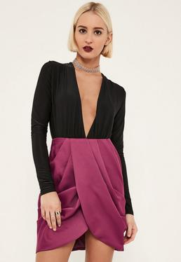 Purple Satin Pleated Waist Wrap Front Skirt