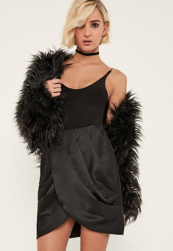 Black Satin Pleated Waist Wrap Front Skirt