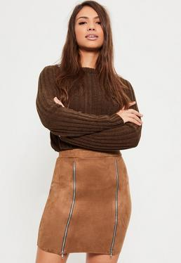 Brown Faux Suede Double Zip Front Mini Skirt
