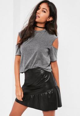 Black Faux Leather Frill Hem Mini Skirt