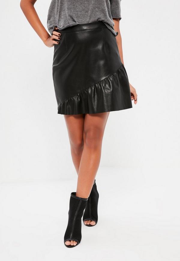Black Faux Leather Frill Hem Mini Skirt - Missguided