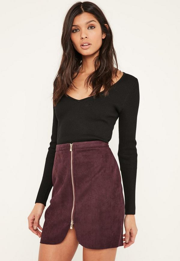 Purple Faux Suede Zip Through Curve Detail Mini Skirt