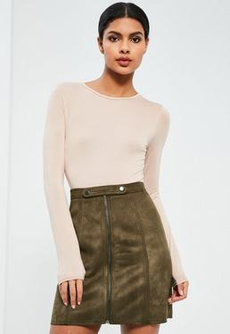 Khaki Tab Detail Zip Through Faux Suede Mini Skirt