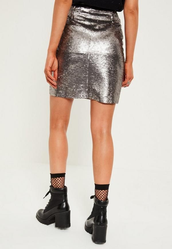 Silver All Over Sequin Skirt | Missguided
