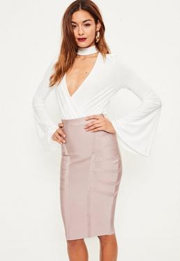 Purple Premium Bandage Side Panel Midi Skirt