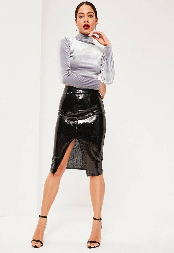 Black All Over Sequin Split Front Midi Skirt