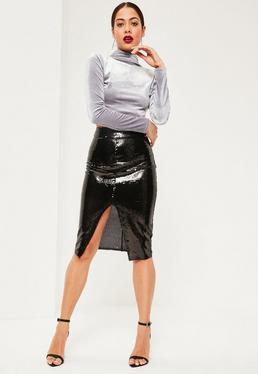 Czarna cekinowa spódniczka midi z rozporkiem z przodu