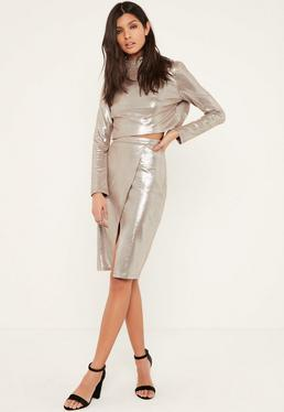 Silver Glitter Effect Faux Suede Midi Skirt