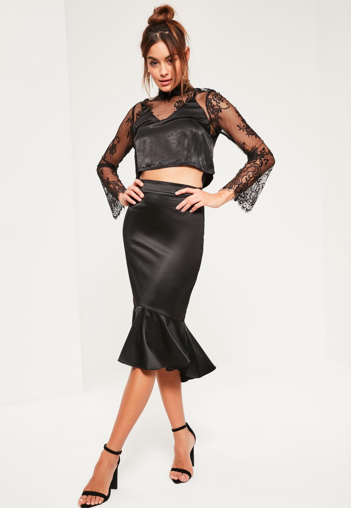 Black Satin Frill Dip Hem Midi Skirt   Missguided