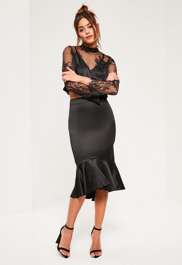 Black Satin Frill Dip Hem Midi Skirt | Missguided