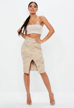 Nude Printed Snake Ponte Split Front Midi Skirt