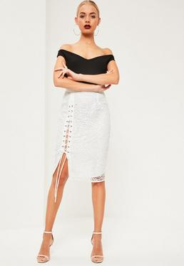 White Lace Eyelet Lace Up Midi Skirt