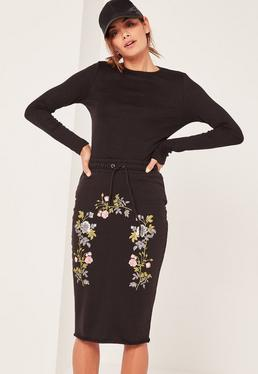Black Embroidered Jersey Loopback Skirt