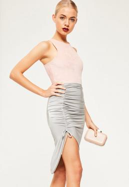 Silver Slinky Ruched Side Midi Skirt