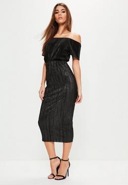 Black Glitter Crinkle Midi Skirt