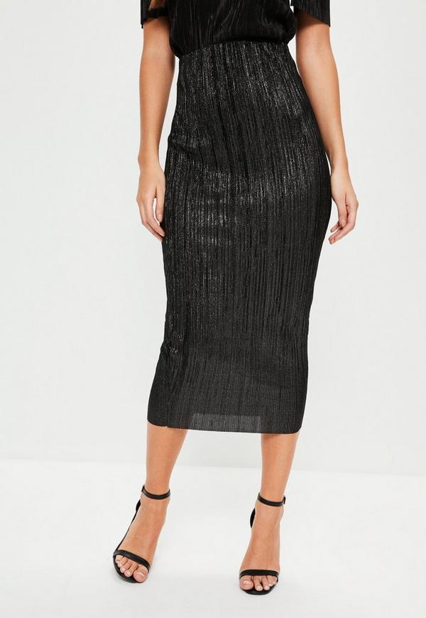black glitter crinkle midi skirt missguided