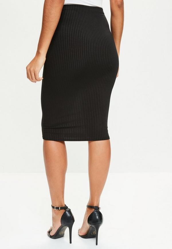 black ribbed midi skirt missguided