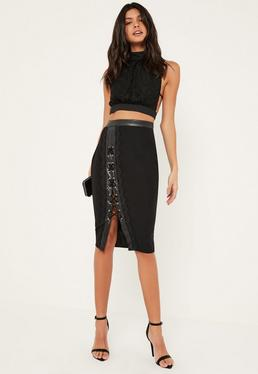 Black Faux Leather And Lace Detail Eyelet Midi Skirt
