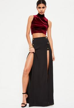 Black Satin Button Detail Maxi Skirt