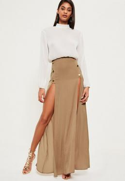 Nude Satin Button Detail Maxi Skirt