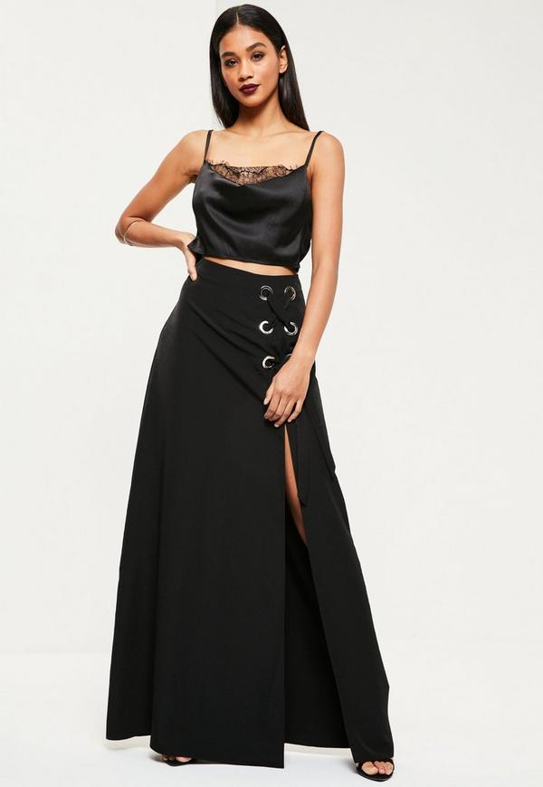 Black Eyelet Detail Maxi Skirt