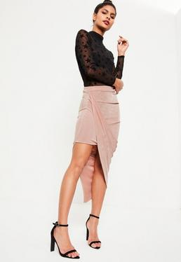 Pink Slinky Asymmetric Ruched Side Midi Skirt