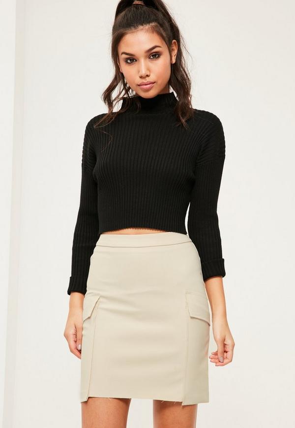 Nude Frayed Pocket Mini Skirt