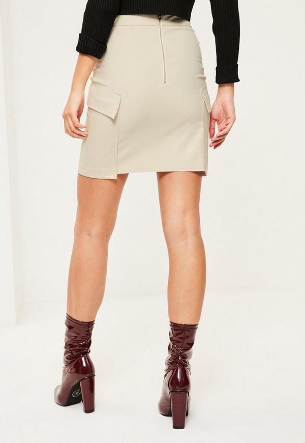 Nude Frayed Pocket Mini Skirt | Missguided Australia