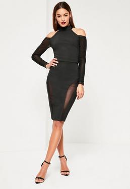 Black Premium Bandage Mesh Insert Midi Skirt