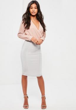 Grey Premium Bandage Panel Insert Midi Skirt
