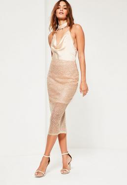 Gold Glitter Pattern Mesh Midi Skirt