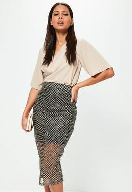 Black Glitter Pattern Mesh Midi Skirt