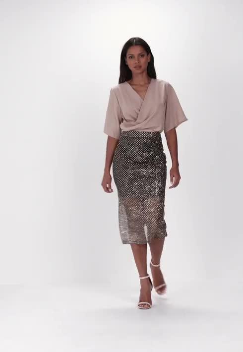 black glitter pattern mesh midi skirt missguided