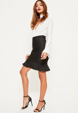 Black Premium Bandage Frill Hem Mini Skirt