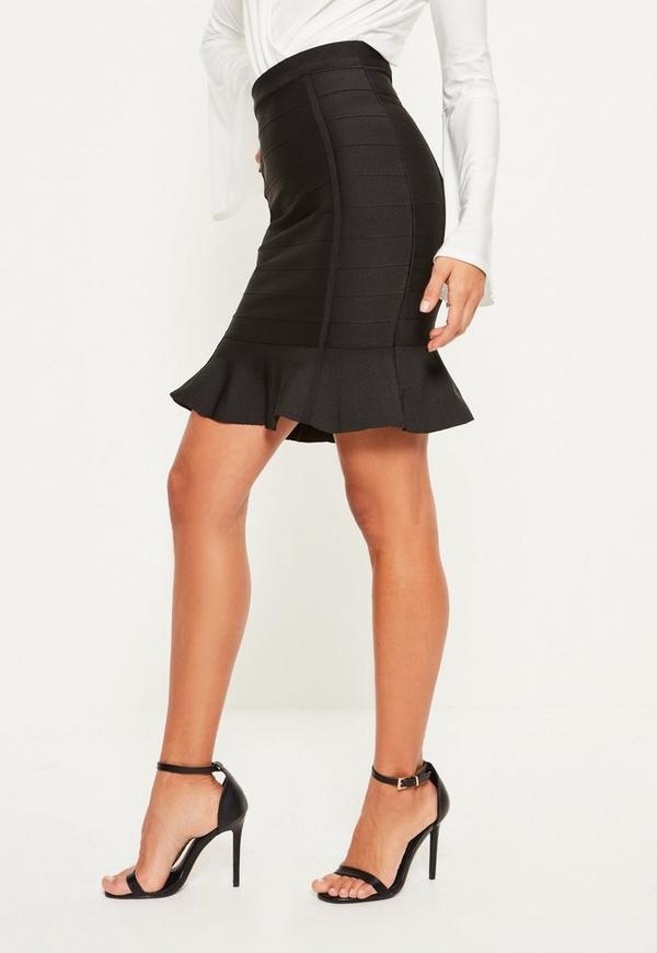 Black Premium Bandage Frill Hem Mini Skirt | Missguided