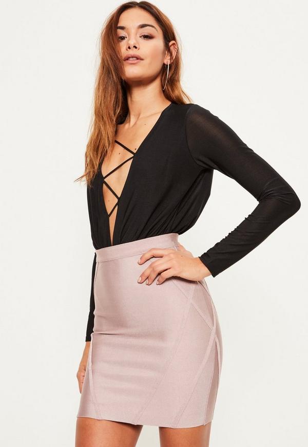 Purple Premium Bandage Panel Detail Mini Skirt