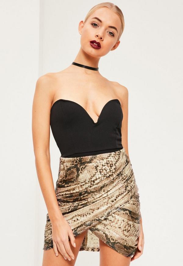 Sequin Snake Print Wrap Front Mini Skirt