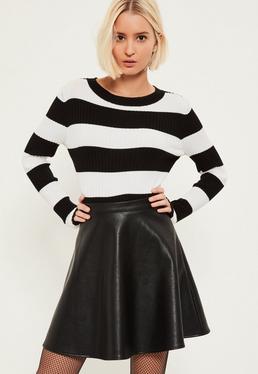 Black Faux Leather Full Mini Skirt